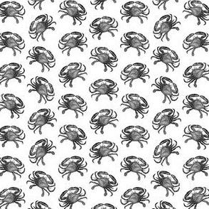 Vintage Crab Art Black & White Pattern (Mini Scale)