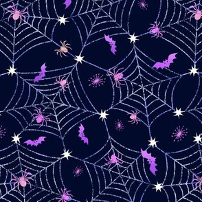 Gothic halloween spider webs in purple and blue -