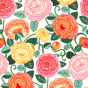 Warm Colorful Climbing Rosa Vines (Large Scale)