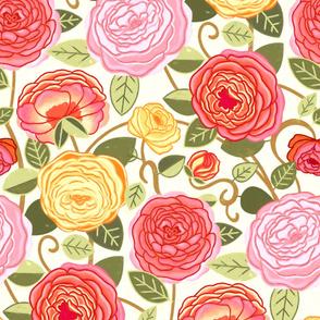 Warm Pastel Climbing Rosa Vines (Large Scale)