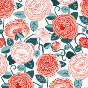 Teal & Pink Climbing Rosa Vines (Large Scale)