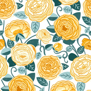Teal & Mustard Climbing Rosa Vines (Large Scale)