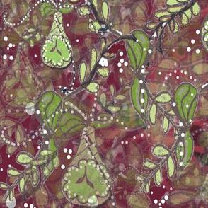 Maximalist Holiday -  Watercolor Batik Effect Fruits Botanical - Maximalist Holiday   -  Red