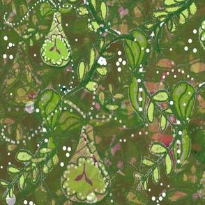 Maximalist Holiday -  Watercolor Batik Effect Fruits Botanical - Maximalist Holiday Challenge  - Green