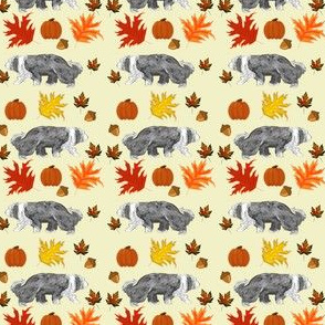 Linus BW Cream twice Pumpkins Autumn Leaves Acorns