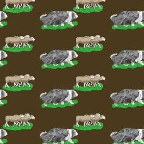 Beardie with 3 brown sheep brown fabric