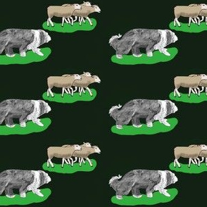 Beardie with 3 brown sheep green fabric
