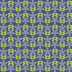 Lacrosse Flowers Blue Small