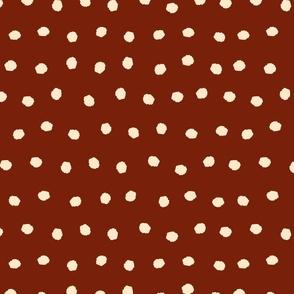 Burnt Orange and white fall polka dots