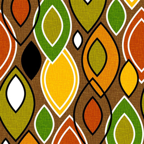 Mid Century Modern Leaves // Autumn Colors // Brown, Red, Yellow, Orange, Green, Black and White // V1