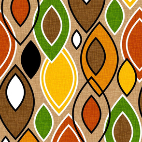 Mid Century Modern Leaves // Autumn Colors // Brown, Red, Yellow, Orange, Green, Black and White // V5