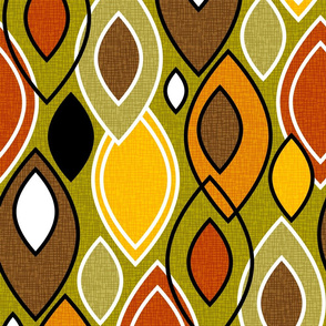 Mid Century Modern Leaves // Autumn Colors // Brown, Red, Yellow, Orange, Green, Black and White // V3