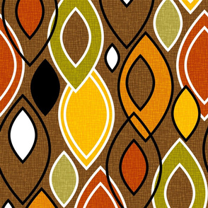 Mid Century Modern Leaves // Autumn Colors // Brown, Red, Yellow, Orange, Green, Black and White // V2