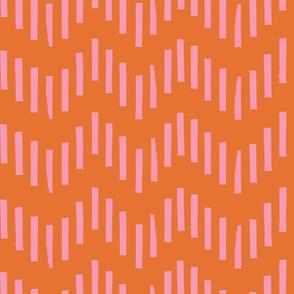 Hand Painted Zig Zag   Hot Pink + Orange