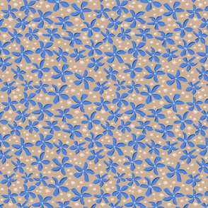 Blue and White Flowers over  Beige