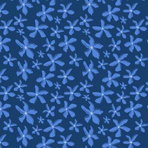 Blue Flowers over Blue
