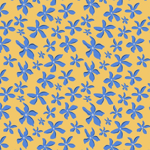 Blue Flowers over Yellow
