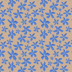 Blue Flowers over Beige