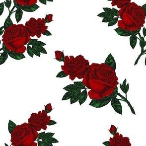 Red vintage rose print (large)