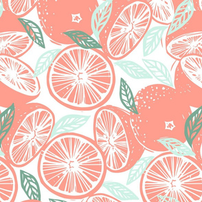 Grapefruit Pink and Mint Green