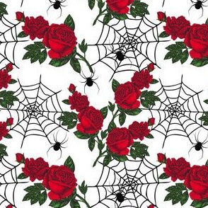 Red Halloween rose and spiders (small)