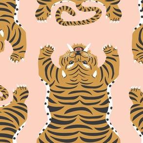 Safari Tiger Rug Lg   Peachy Pink