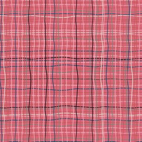 Mauve - Pink Plaid Squiggles & wavy lines- medium  scale
