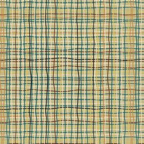 Retro Green Plaid Squiggles & Wavy lines-medium scale