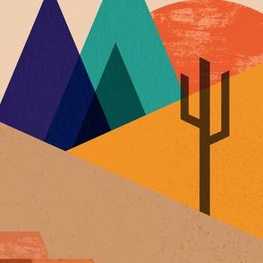 Color Block Desert Wall Hanging 4'x8'  // Mountain Views, Sunset, Geometric, Cactus, Cacti, Succulents, Landscape, Texture, Mesas, Red Rocks, Sand, Sunshine ©Zirkus Design