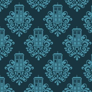 The Doctor Blue Box Damask
