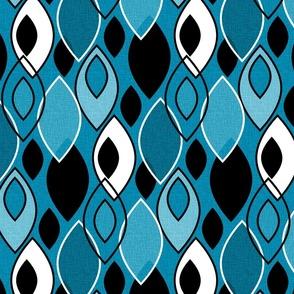 Mid Century Modern Leaves // Denim Blue, Black and White // V2