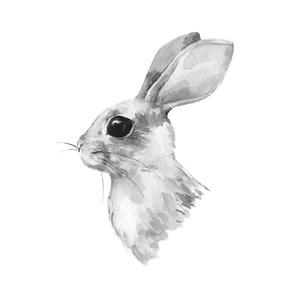 Rabbit portrait BW. Fat quarter
