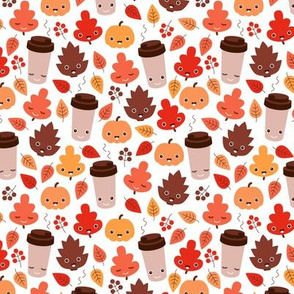 Kawaii autumn leaves and pumpkin spice latte love illustration pattern SMALL
