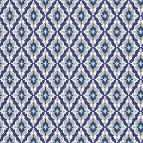 Ikat Diamonds Navy Gray Teal