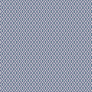 Small Ikat Damask Navy Grey Mint