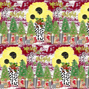 Merry and Bright sunflower  holiday  country chic - plumb red - LG 105