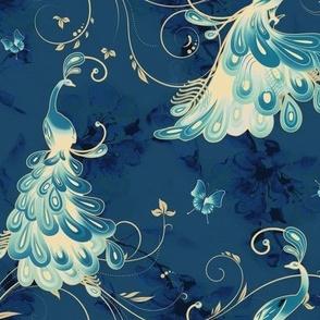 White Peacock_Vintage Velvet Blue