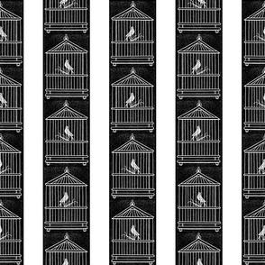 Birds & Birdcages Black & White Stripes (Large Scale)