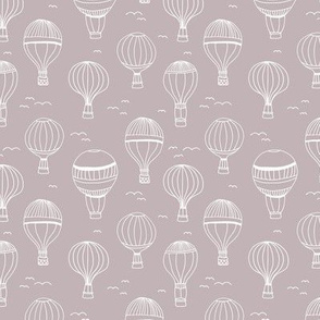 Sweet Scandinavian hot air balloon kids design clouds sky birds nursery design mauve purple