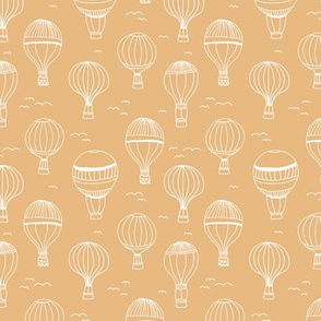 Sweet Scandinavian hot air balloon kids design clouds sky birds nursery design ochre yellow