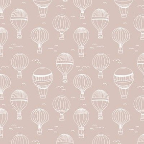 Sweet Scandinavian hot air balloon kids design clouds sky birds nursery design beige sand