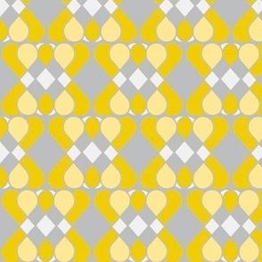 Patchwork Lattice Grey. Yellow & White