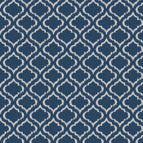 Ikat Ogee Navy and Grey