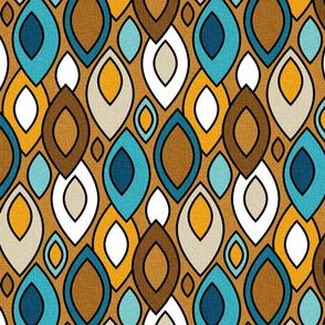 Mid Century Modern Leaves // Caramel, Navy Blue, Amber, Denim, Khaki Tan, White // V4
