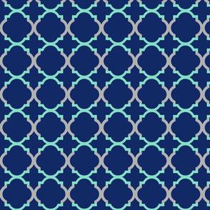 Quatrefoil Gray Navy Mint