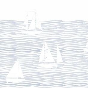 sailboats large white stripe and light blue gray nautical