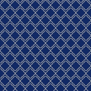 Quatrefoil Navy and Grey