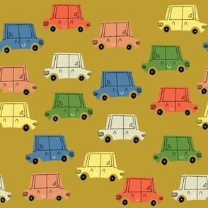 Retro Cars Parking Lot Mustard
