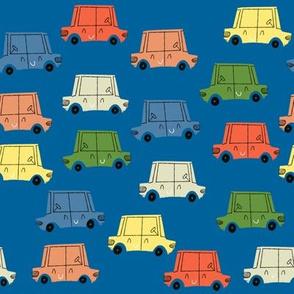 Retro Cars Parking Lot Classic Blue