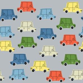 Retro Cars Parking Lot Grey